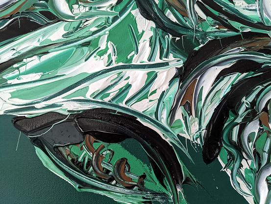 A sea turtle painted with texture on a dark green background