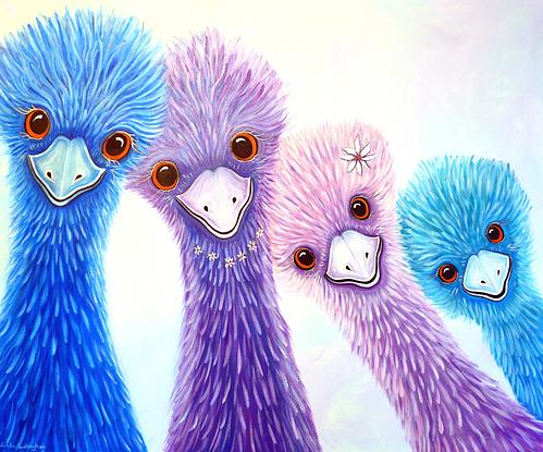 Quirky Emu Family on Canvas