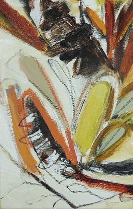 Abstract banksia flower painting