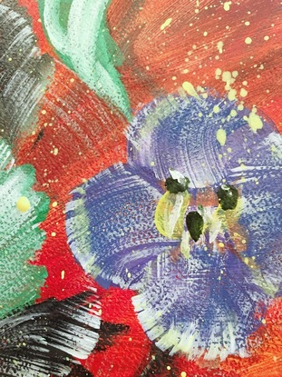 """Whispering Quietly - Germander Speedwell <br> Affirmation: Marching on, one thing at a time. The slower the better, because time is on your side. - 27/7/2018. 29.5*42*0.1 cm  <br> This painting is inspired by my observation of my favourite nature object - the most comment Lawn weeds, during a short walk into the woods before I start my daily painting routine. The strength and vitality of the weed grasses and flowers are fascinating. <br> The tiny purple flowers of Germander Speedwell - Veronica chamaedrys, also known as Bird's-eye Speedwell, has a meaning from its name, which is """"on the ground."""" It is a perennial weed, and can survive in all soil types. Next time if you notice those tiny purple flowers, they may quietly whisper to you if you listen carefully. -WILD BOTANICAL ABSTRACT SERIES 2018 by H.Lin- <br> Time-lapse Art video of this original artwork: https://www.youtube.com/watch?v=SzwlxA56glk <br> Artwork inspired by nature in Bayswater, Melbourne, Victoria, Winter 2018.  By HSIN LIN"""