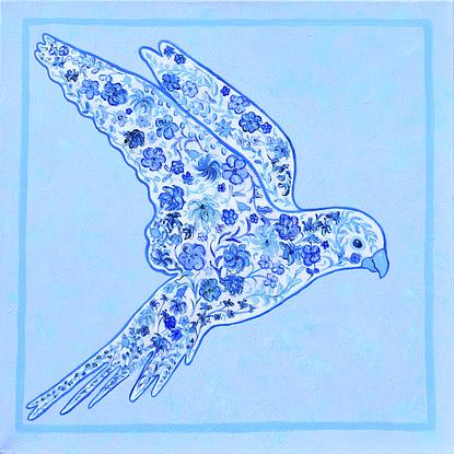 A floral parrot in shades of blue