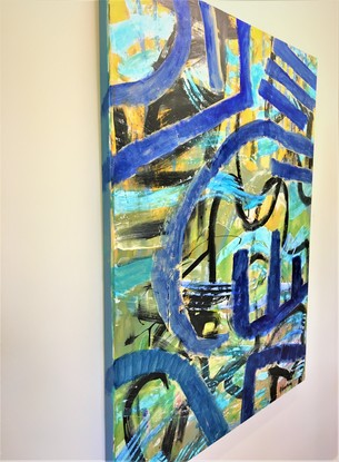 Abstract in waves of blues, black and yellow. reminiscent of waves swirling underwater.