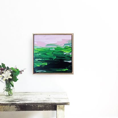 green textured abstract framed in oak