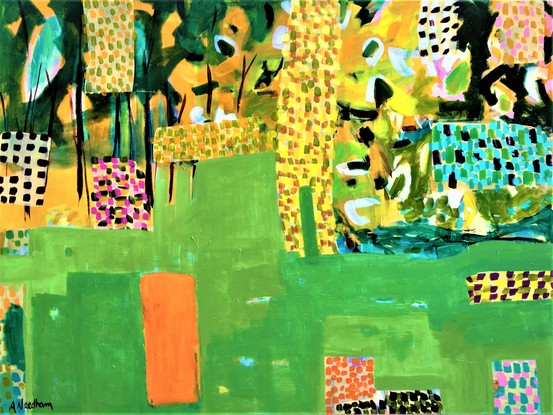 Abstract landscape, large field of greens, broken up with patches and checks of pinks, orange, white, black. Trees and flowers in upper corner and across the top. a patch of orange/red in foreground.
