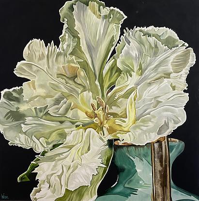 A large close focus painting of a pale green frilly edged tulip, fully opened to reveal all the details inside the beautiful petals. A single flower sitting in a duck egg blue colour traditional jug of which only the corner is visible in the painting. The scale of the single bloom gives the painting a contemporary look.