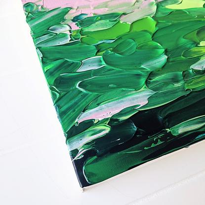 green textured abstract with blush accents