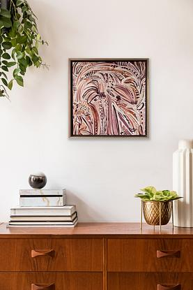 An abstract impression of Desert Palms on the desert Ochre sand.  Depictions of Morocco or other Moorish landscapes.