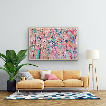 Contemporary and modern bright colourful tropical plants in a tropical semi abstract landscape.