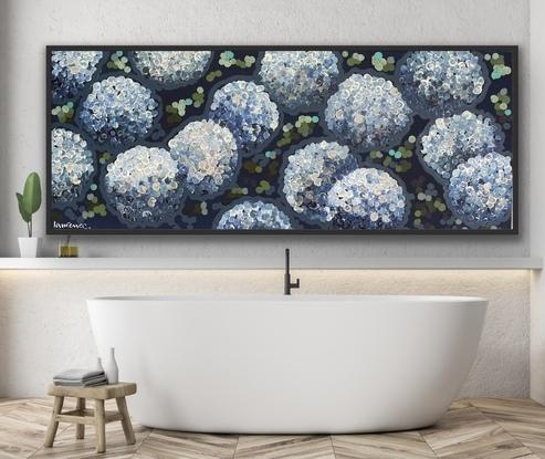 Blue hydrangeas by night