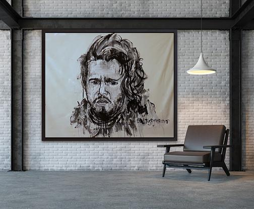 Jon Snow Kit Harington Abstract Black and White Portrait by Leah Justyce