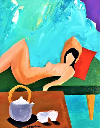 reclining female nude with table set with tea pot and two tea cups. Abstract background in blues and neutrals. Red cushion, green lounge and timber table on teal carpet with orange sofa leg.
