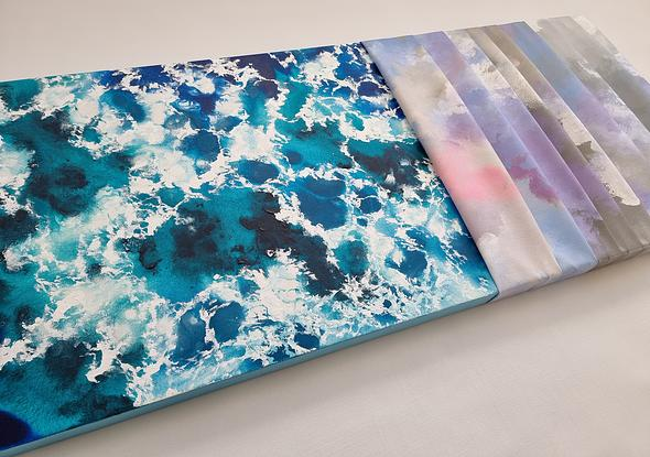 Aerial ocean view with modern canvas folds