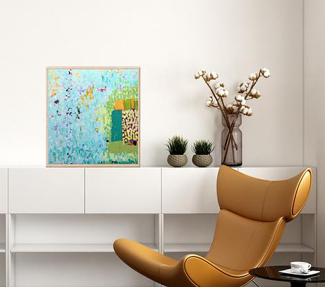 abstract work in teal, turquoise, orange, white, olive.  Layers of color in textured tiles, dabs and strokes build up on the surface to giving the feeling of bubbles rising or  dissolving.