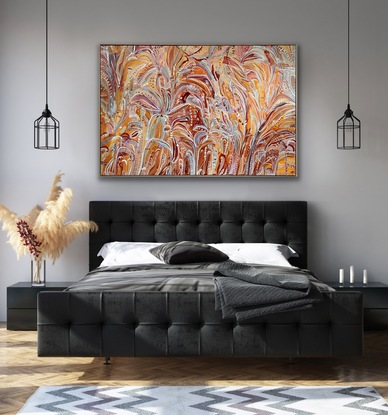 A bohemian style abstract of floral and botanical impressions.  Full of life, flow details and mark making.  By Carley Bourne