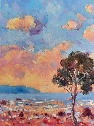 Thick paint, yellow clouds, blue water, red sand, green trees, blue sky
