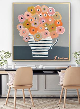 Peaches abstract flowers in a big striped jug