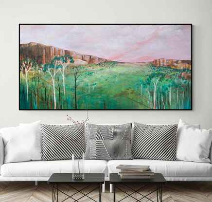 Soft and romantic pastel toned abstract landscape of blue, green and pink tones