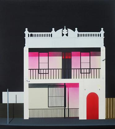 """(CreativeWork) """"The blushing building"""" by David Rellim. Oil. Shop online at Bluethumb."""