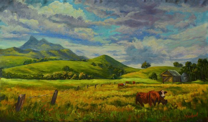 (CreativeWork) Original oil on Belgian linen of farmlands near Mount Warning, NSW by Christopher Vidal. Oil. Shop online at Bluethumb.