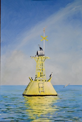 """(CreativeWork) """"The Lookouts"""" - Port Philip Bay by John Barcham. Oil. Shop online at Bluethumb."""