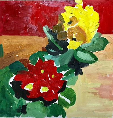 (CreativeWork) Yellow and Red Primroses by Kerry Russell. Oil. Shop online at Bluethumb.