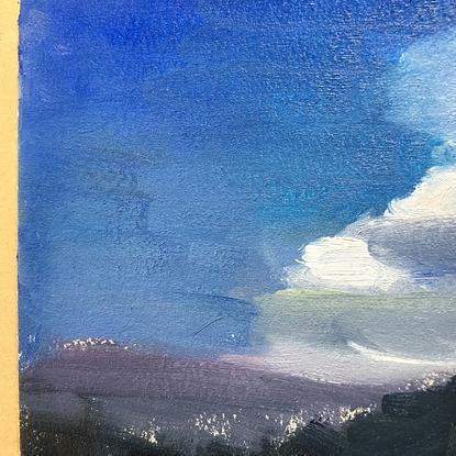 (CreativeWork) Full Moon, September by Kerry Russell. Oil. Shop online at Bluethumb.
