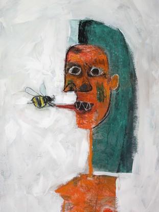 (CreativeWork) A Bee Stung Her Tongue  by John Graham. Mixed Media. Shop online at Bluethumb.