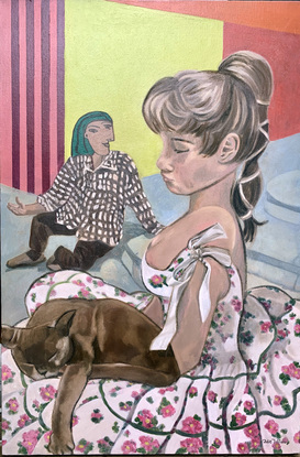 (CreativeWork) Bardot's Springtime by Julie Toffolo. Oil. Shop online at Bluethumb.
