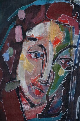 (CreativeWork) Lady with a lot on her mind by Anetta Dobrakowska. Acrylic. Shop online at Bluethumb.