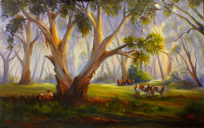 (CreativeWork) Original oil painting - Grazing in the Australian bush by Christopher Vidal. Oil. Shop online at Bluethumb.