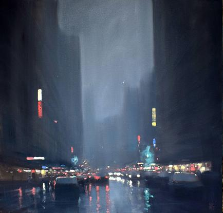 (CreativeWork) City lights by Mike Barr. Oil. Shop online at Bluethumb.