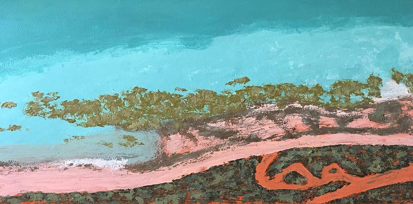 (CreativeWork) Broome Aerial  by Ingrid Russell. Acrylic. Shop online at Bluethumb.