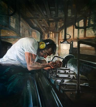 (CreativeWork) Naval Mechanic by David Rowe. Oil. Shop online at Bluethumb.