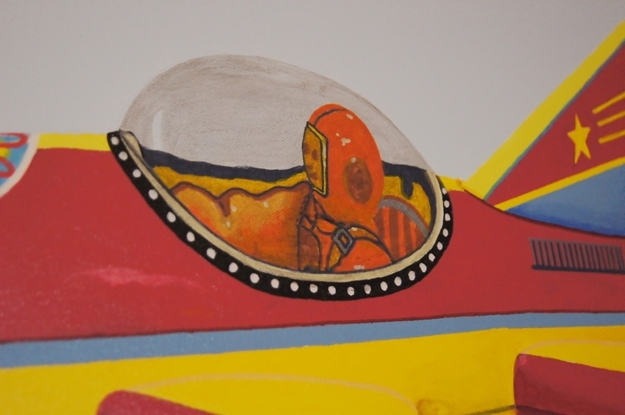 (CreativeWork) The Red and Yellow Rocket by BRETT ROSE. Acrylic. Shop online at Bluethumb.