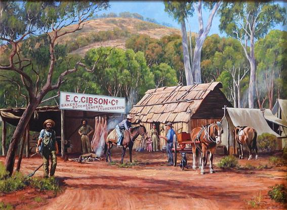 (CreativeWork) GIBSON'S STORE by Ron and Jennifer Marshall. Acrylic. Shop online at Bluethumb.