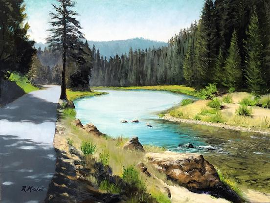 (CreativeWork) Lake Tahoe by Raynette Mitchell. Oil. Shop online at Bluethumb.