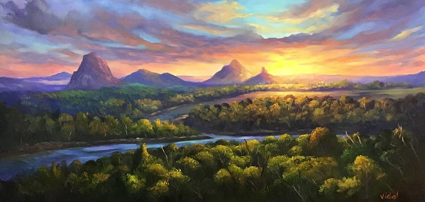 (CreativeWork) Sunset on Glasshouse Mountains - Queensland by Christopher Vidal. Oil. Shop online at Bluethumb.