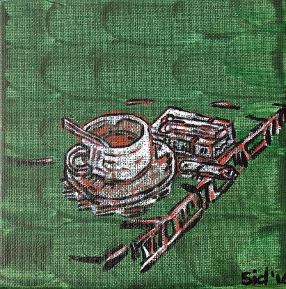 (CreativeWork) Coffee and a cigarette' 2 by Sidney Sprague. Acrylic. Shop online at Bluethumb.