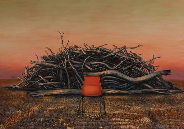 (CreativeWork) Hot Seat by Kirsten Sivyer. Oil. Shop online at Bluethumb.