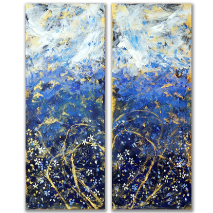 (CreativeWork) Love is in the Air (Diptych) by Anne Huth. Acrylic. Shop online at Bluethumb.