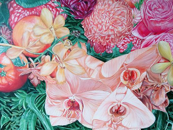 *This artwork -A LIFE TIME JOURNEY - Orchids, Oranges And Chrysanthemums - had won two prizes. * List of Awards- 1. Mar 2020 - Highly Commended in The Victorian Artists Society George Hicks Foundation Contemporary Exhibition. 2. April 2019 - 2nd Prize in Acrylic in Annual Exhibition Oil/Acrylic, Pastel & Watercolour at The Hut Gallery. <br> This is a reproduction of my latest original acrylic painting on canvas -A LIFE TIME JOURNEY - Orchids, Oranges And Chrysanthemums - . <br> Artwork size - 57.4 X 76.5 X 0.1 cm Overall Size - Standard A1 large print - 59.4 x 84.1 x 0.1 cm ( border included) <br> Also in a standard A1 size, should be able to fit in any A1 size frame you have easily. LIMITED EDITION Giclée print on 310gsm textured paper. Unframed . All prints are individually signed , numbered, and comes with a certificate of authenticity. <br> Original painting info : A LIFE TIME JOURNEY - Orchids, Oranges And Chrysanthemums -(2019) Artist Acrylic on Artist quality triple primed gesso /Acid free canvas. 101.6*76.2*1.5 cm By HSIN LIN A latest piece in my signature series -Bloom like flowers 2019. <br> Affirmation- Stay humbled when you soar, be courageous when you go through the low point. <br> I would also like to share the concept behind this piece and the title I have for this artwork if you have a bit of time. <br> It was 4 years ago when I picked up my paint brushes again after many years away from art. I was going through a all time low in life at that moment, came across difficulties that I wasn't able to deal with by myself. <br> Nature was the only thing bring me strength and helped me get back on my feet. I enjoyed observing different kind of flowers, Australia native plants and trees. To ground myself, I started express my feelings by painting those objects that I was obsessed with. <br> I started with some small project at the beginning, gaining enormous joy and peacefulness from the process. Then I stared to work on more detailed and bigger project, at 