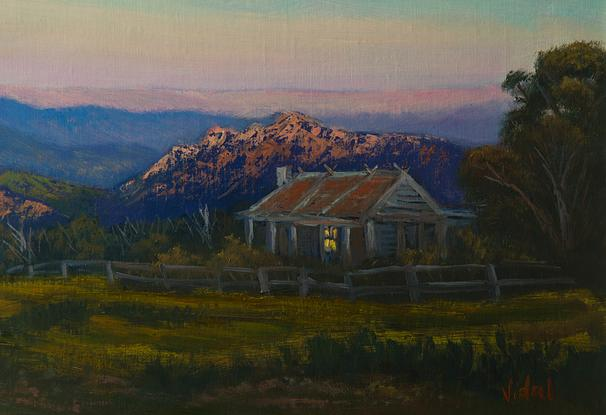 (CreativeWork) An evening near Craig's Hut, Mt Stirling, Victoria - Framed ready to hang by Christopher Vidal. Oil. Shop online at Bluethumb.