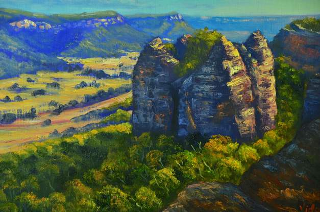 (CreativeWork) The View from Donkey Mountain, Blue Mountains - oil ready to hang by Christopher Vidal. Oil. Shop online at Bluethumb.