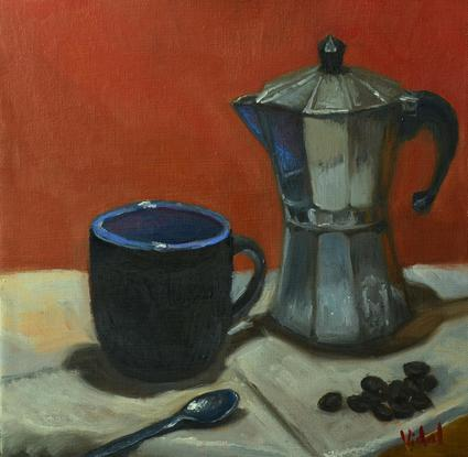 (CreativeWork) Cup of Coffee - Still life ready to hang by Christopher Vidal. Oil. Shop online at Bluethumb.
