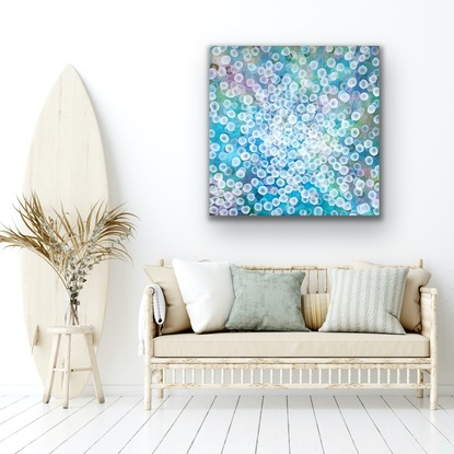 Abstract painting with dots and organic forms reminiscent of science, the sea or underwater. Colourful with many layers of colour and floating forms. A unique mixing of original abstract art with microbiology and science. Cellular art. Jelly fish forms. Calming and peaceful.