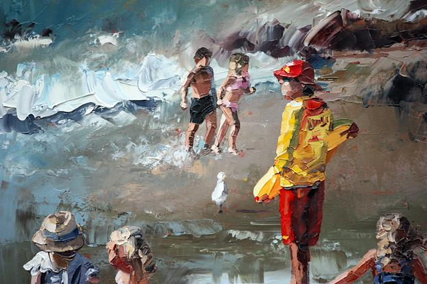 (CreativeWork) Beach Life by Claire McCall. Oil. Shop online at Bluethumb.