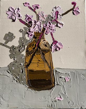 (CreativeWork) Blossoms in an Amber Bottle  by Katherine Warburton. Oil. Shop online at Bluethumb.