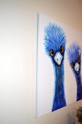 (CreativeWork) Quirky Emus by Linda Callaghan. Acrylic. Shop online at Bluethumb.