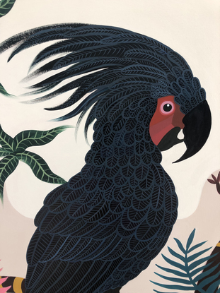 (CreativeWork) Palm Cockatoo Garden by Sally Browne. Acrylic. Shop online at Bluethumb.
