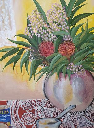 (CreativeWork) In the corner of every Arab kitchen by Amani Haydar. Acrylic. Shop online at Bluethumb.